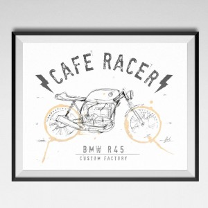 CUSTOM FACTORY - plakat CAFE RACER