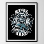 CUSTOM FACTORY - plakat WORK HARD