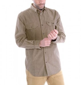 Koszula Carhartt Fort Solid Long Sleeve Shirt Dark Tan Chambray Piaskowa