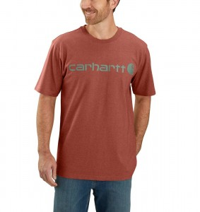 Koszulka Carhartt Core Logo T-Shirt Olivine Heather AUBURN HEATHER